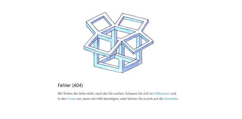 dropbox 404 fehlerseite