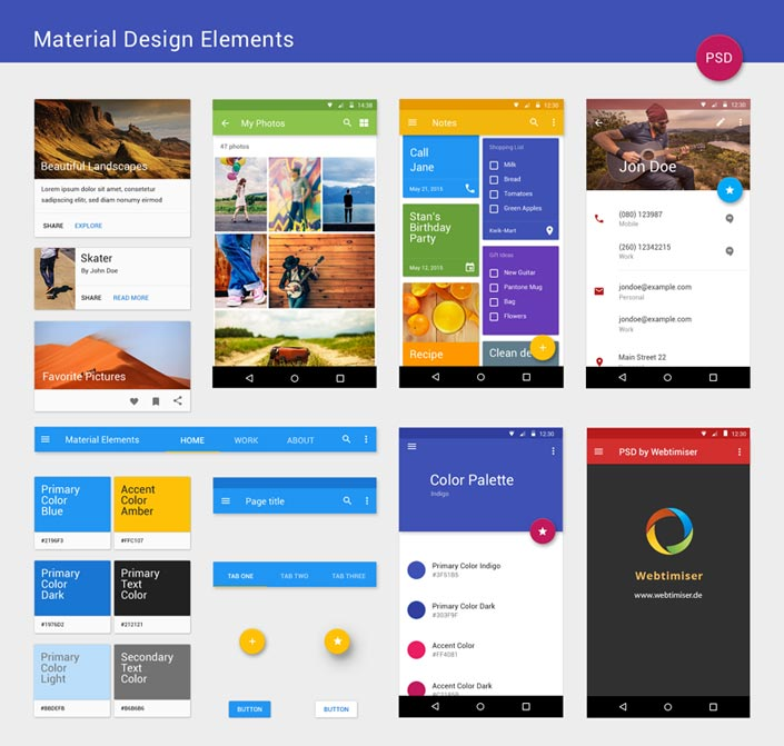 Material Design Elements Full Preview