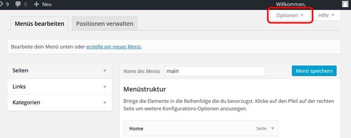 WordPress Menü mit Icon erstellen
