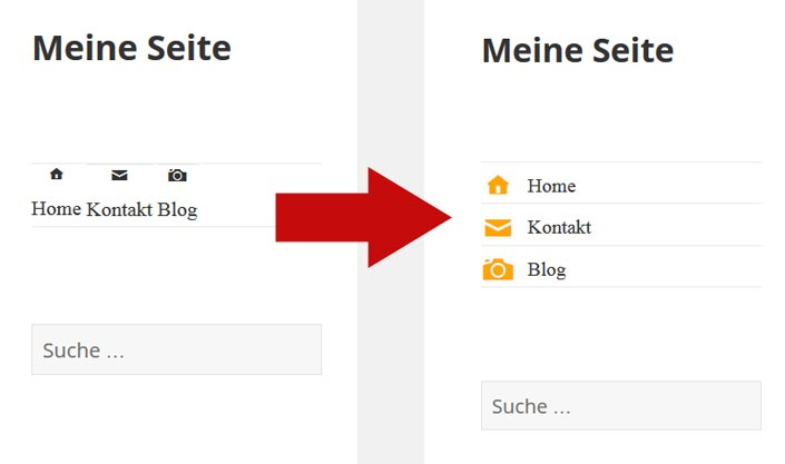 Screenshot WordPress menü mit icons