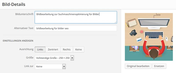 Screenshot WordPress bilder für seo