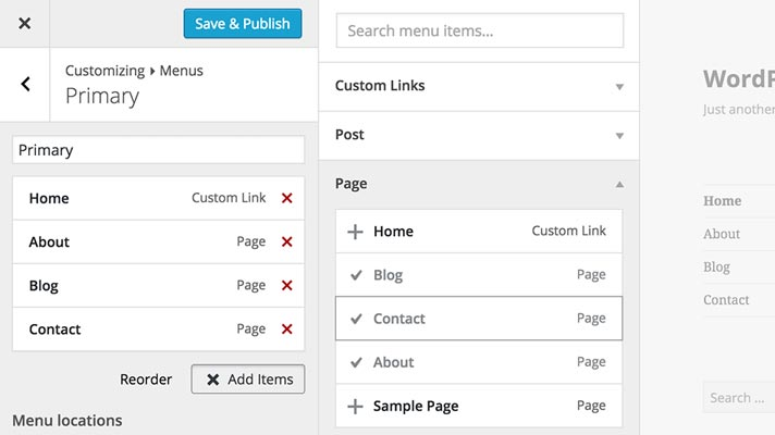 Wordpress menu im customizer
