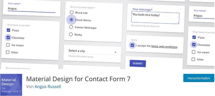 material design addon für cf7