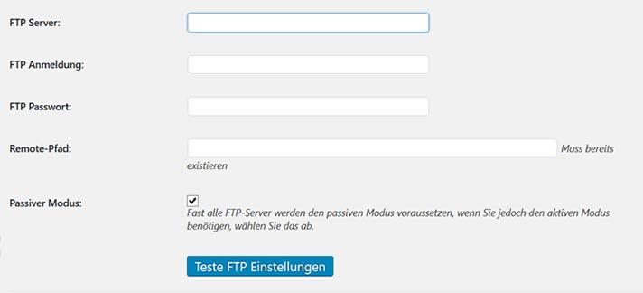 Backup zu FTP einrichten