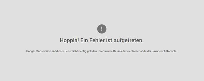 google maps fehlermeldung
