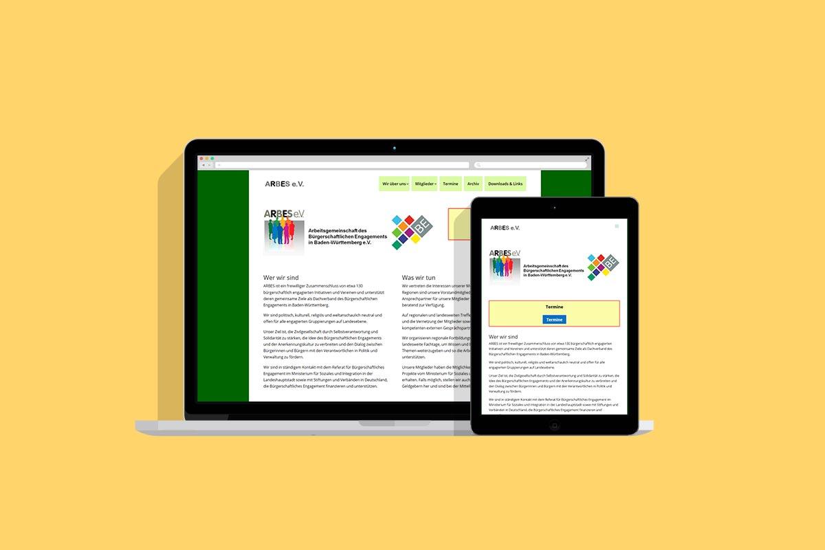 arbes webseite für verein