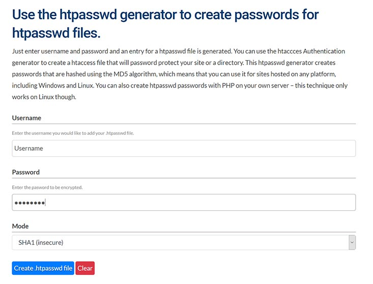 screenshot htpasswd generator
