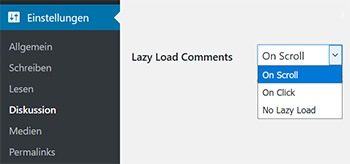 einstellungen lazy load comments