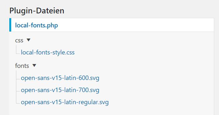 Ordnerstruktur Font Plugin