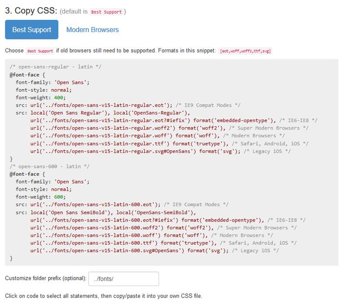 CSS Font Anweisungen
