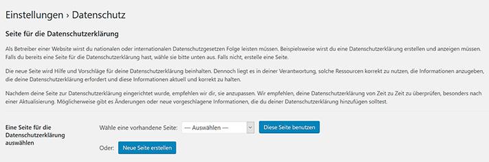 wordpress datenschutzerklärung
