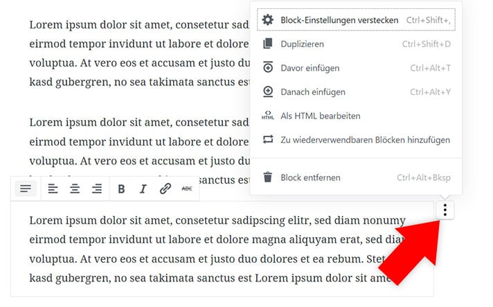Gutenberg Block Optionen