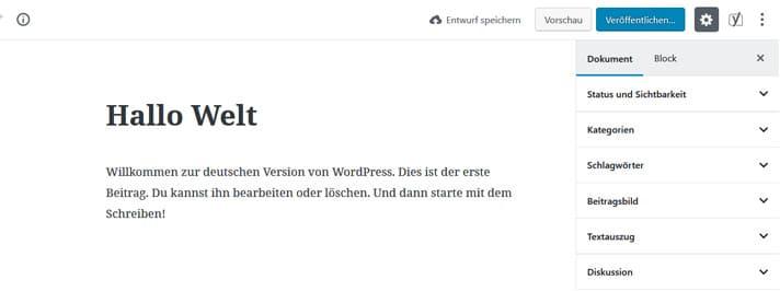 Gutenberg Editor Oberfläche