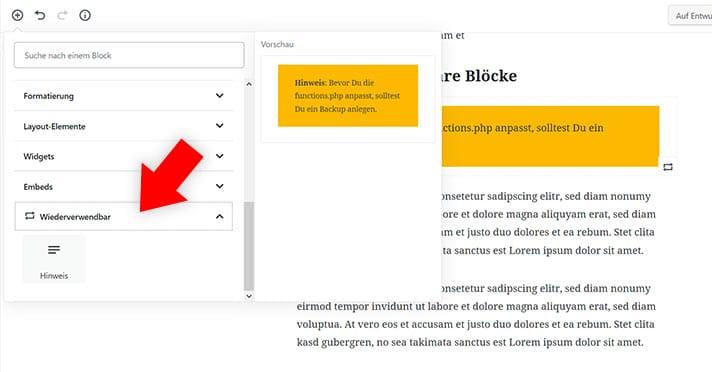 block erneut nutzen