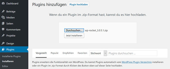 WP Rocket in WordPress installieren