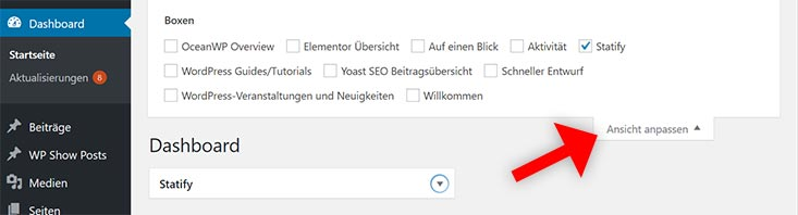 wordpress dashboard entrümpeln