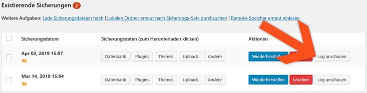Backup - Logfiles prüfen