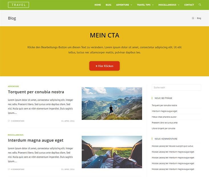 Blog mit eingebauter Vorlage