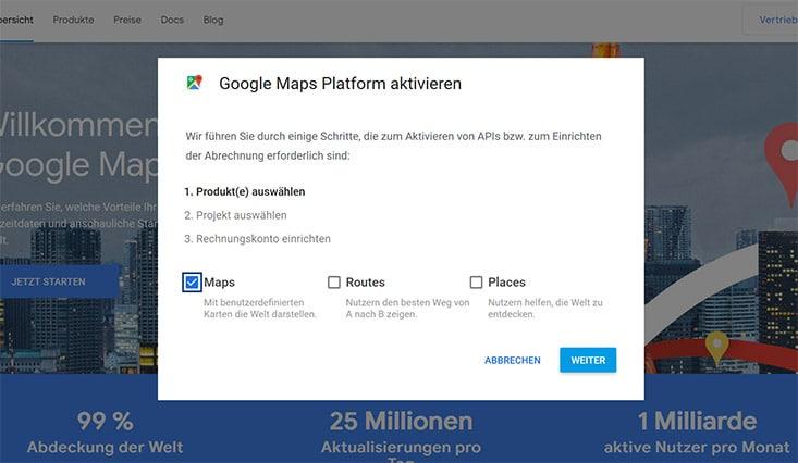 Google Maps Platform aktivieren