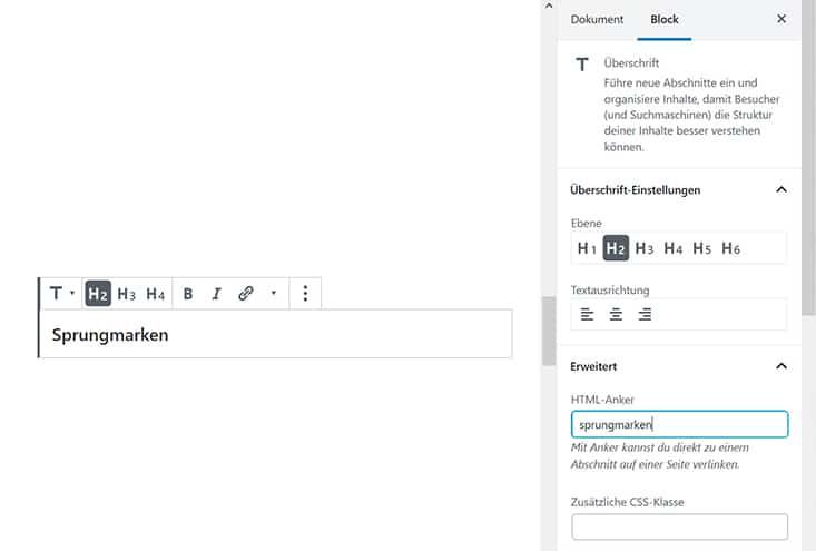 Screenshot Sprungmarken für Überschriften einfügen