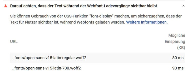 Warnung in PageSpeed Insights