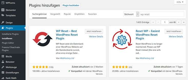 WP Reset Plugin installieren