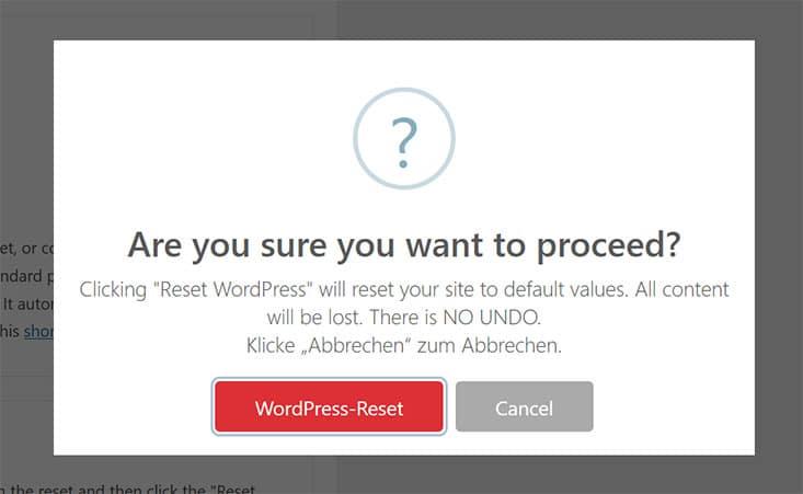 WordPress-Reset bestätigen