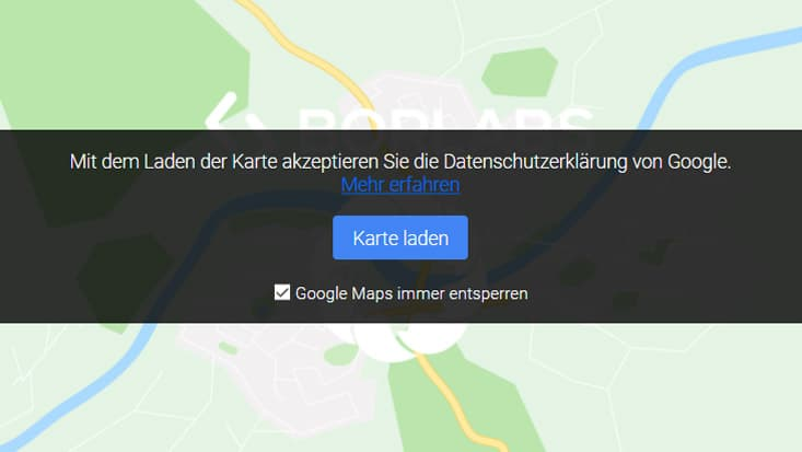 Screenshot blockierte Google Map mit Borlabs Cookie.