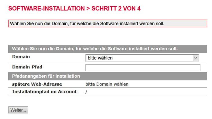 All-inkl Domain auswählen