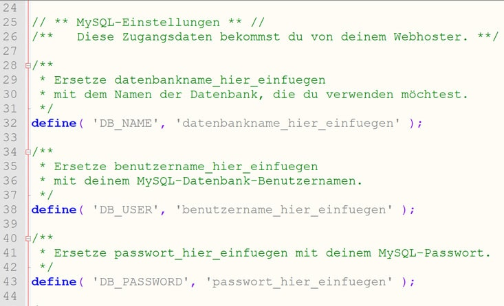 wp-config.php Einträge DB
