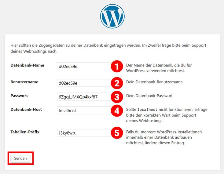 WordPress Installation - Datenbankinfos