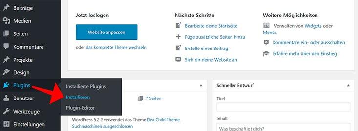 Menüpunkt WordPress Plugin installieren