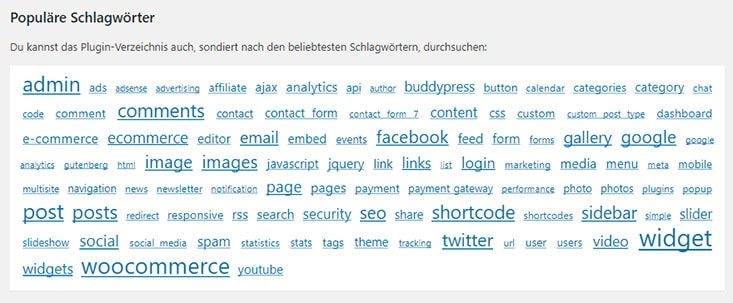 Tag-Cloud populäre Plugins