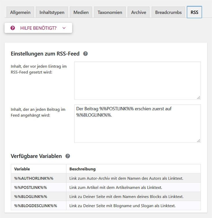 Anpassung RSS Feed
