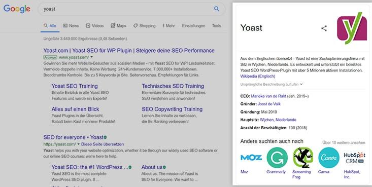 Beispiel für Knowledge Graph Yoast