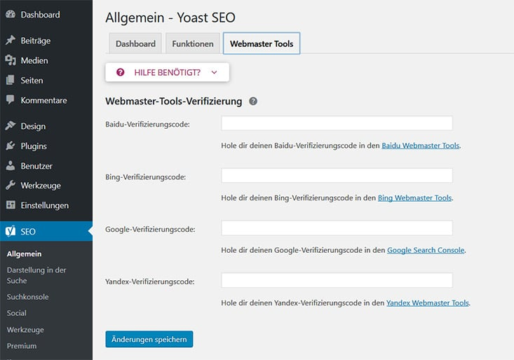 Yoast Webmaster Tools verifizieren