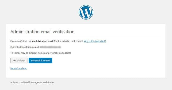 Check der Admin Mail Adresse