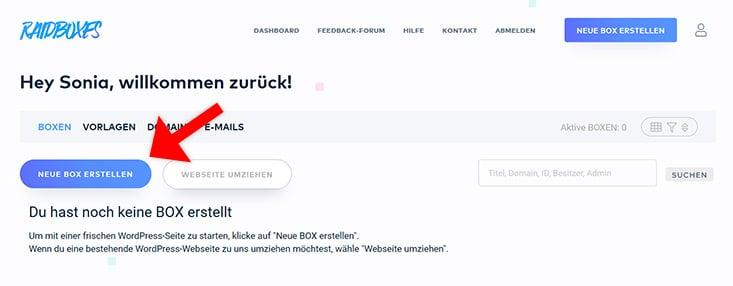 Raidboxes WordPress Hosting Box erstellen