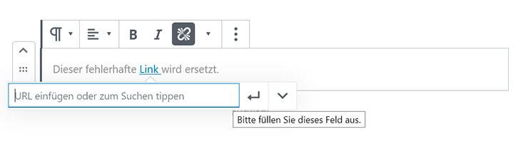 Link in WordPress korrigieren