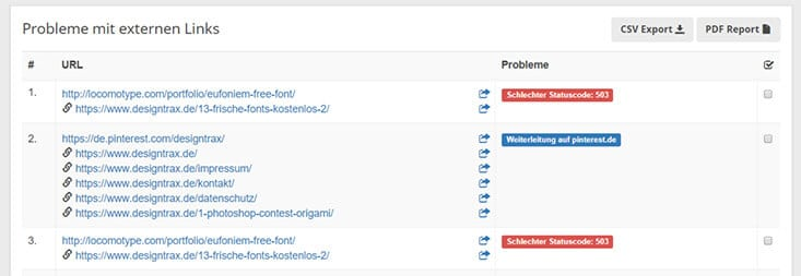 Defekte Links detail seobility