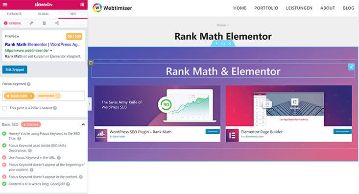 Rank Math in Elementor