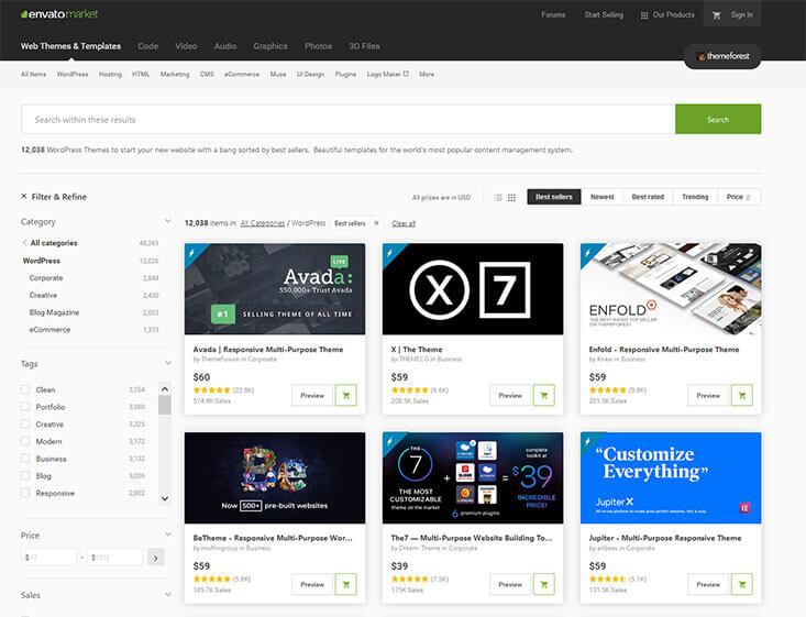 Template Auswahl Themeforest.net