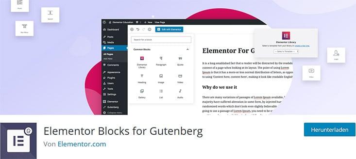 Elementor Blocks für Gutenberg