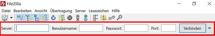FileZilla Quick-Connect Leiste