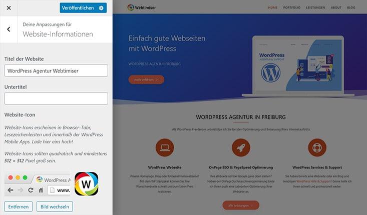 Favicon in WordPress einbinden per Customizer