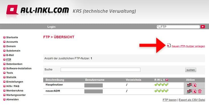 FTP Zugang bei all-inkl. einrichten