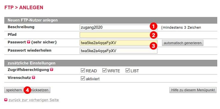 all inkl FTP zugangsdaten eingeben