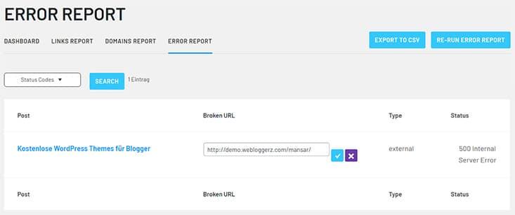 Link Whisper broken links report