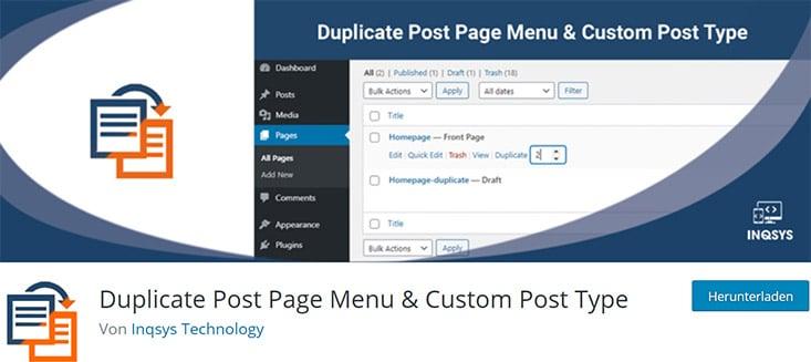 Duplicate Post Page Menu screenshot
