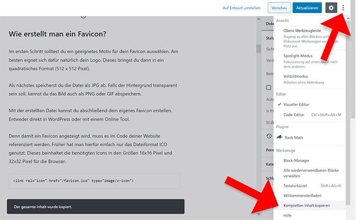 Inhalt kopieren im Gutenberg Editor